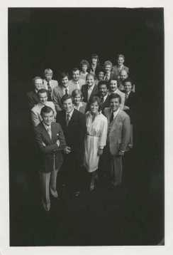 Chet Curtis is seen in the front row on the right with the Channel 5 news team in the late 1970s or early 1980s.