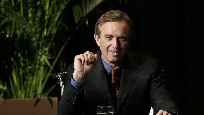 Robert F. Kennedy Jr. makes comments during the opening minutes of a interview with journalist Charlie Rose in front of a full audience at the AT&T Performing Arts Center Friday, Jan. 11, 2013, in Dallas, Texas.