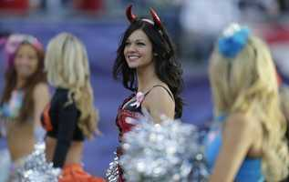 New England Patriots cheerleaders dressed for Halloween during NFL football game in Foxborough, Mass., Sunday, Oct. 21, 2012.