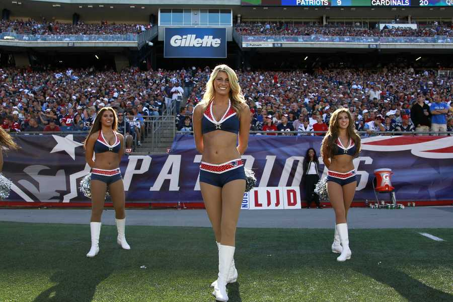 New England Patriots cheerleaders in the fourth quarter of an NFL football game against the Arizona Cardinals Sunday, Sept. 16, 2012 in Foxborough, Mass.