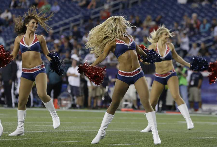 New England Patriots cheerleaders during an NFL preseason football game in Foxborough, Mass., Monday, Aug. 20, 2012.