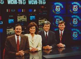 Dick Albert, Natalie Jacobson, Chet Curtis and Mike Lynch on the set in the 1990s