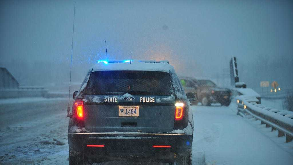 Mass. State Police at Snowy Crash