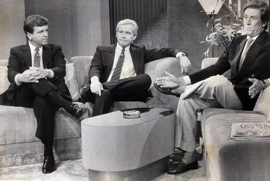 In this July 1983 photo, Boston News Anchors Chet Curtis, Jack Williams and Tom Ellis.