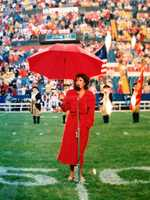 Liz has sung the National Anthem before Pats, Celtics and BC football and basketball games.  This is Liz singing in Foxborough.