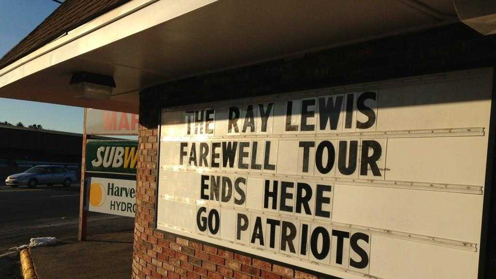 Foxborough Ray Lewis Sign