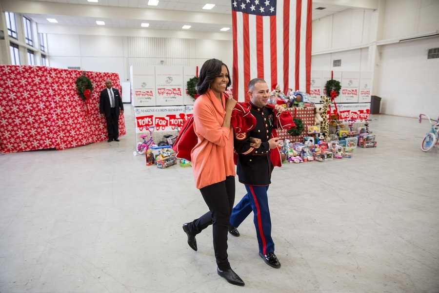 First Lady Michelle Obama visits the Joint Base Anacostia-Bolling Toys for Tots Distribution Center in Washington, D.C., Dec. 11, 2012.