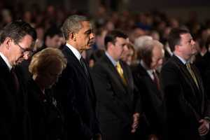 President Barack Obama attends a Sandy Hook interfaith vigil at Newtown High School in Newtown, Conn., Sunday, Dec. 16, 2012.