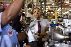 President Barack Obama tours the Daimler Detroit Diesel Facility in Redford, Mich., Dec. 10, 2012.