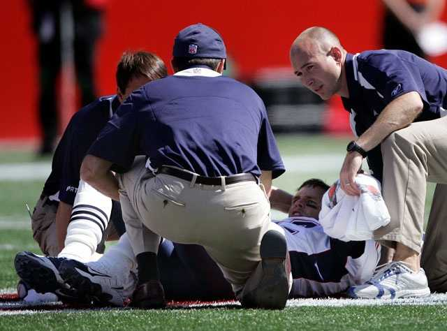 The hit by Pollard tore Brady's anterior cruciate ligament in his left knee.