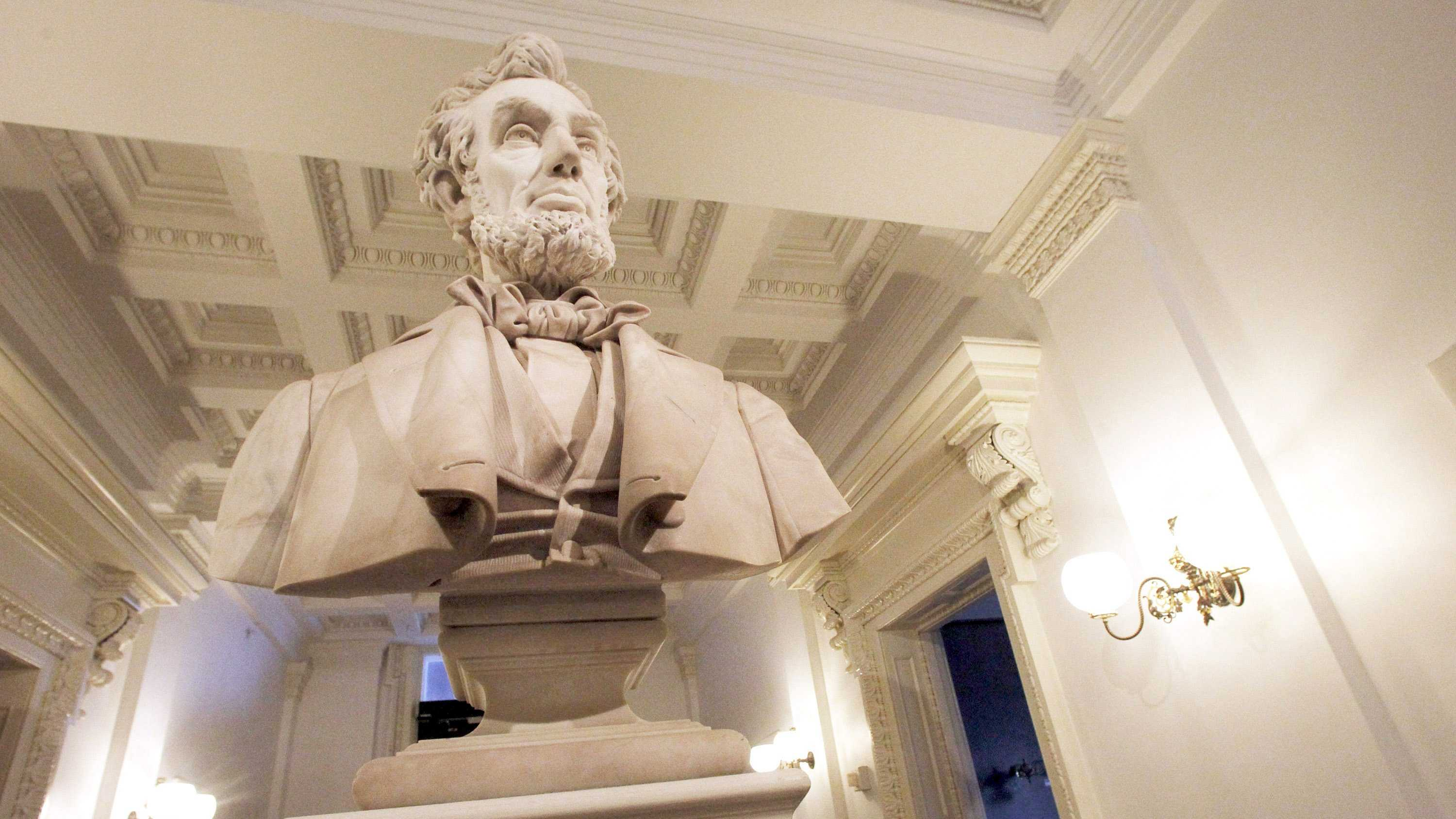 The marble bust of Abraham Lincoln stands in a hallway of the statehouse on Thursday, Jan. 17, 2013 in Montpelier, Vt.