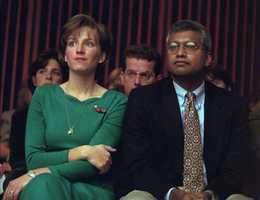Debbie Eappen, left, sits with her husband Sunil Eappen during closing arguments in the murder trial.