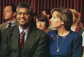 Sunil and Deborah Eappen smile at the sentencing.