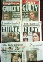 A montage of London's daily papers published on Friday October 31 1997 that feature headlines declaring the result of the Louise Woodward au pair trial in Boston.