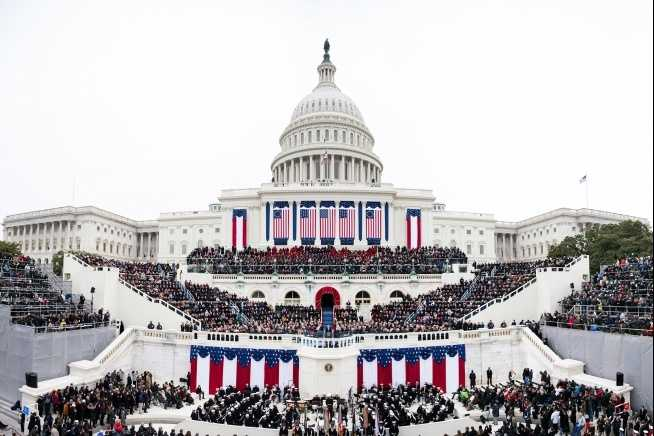 Panoramic view of the West Front of the U.S. Capitol as President Barack Obama, First Lady Michelle Obama, Vice President Joe Biden, and Dr. Jill Biden take part in the inaugural swearing-in ceremony in Washington, D.C., Jan. 21, 2013.