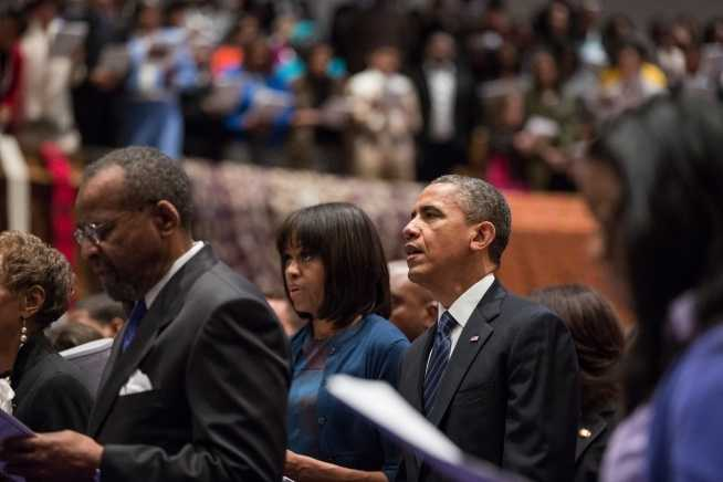 President Barack Obama and First Lady Michelle Obama attend a church service at Metropolitan African Methodist Episcopal Church in Washington, D.C., on Inauguration Day, Sunday, Jan. 20, 2013.