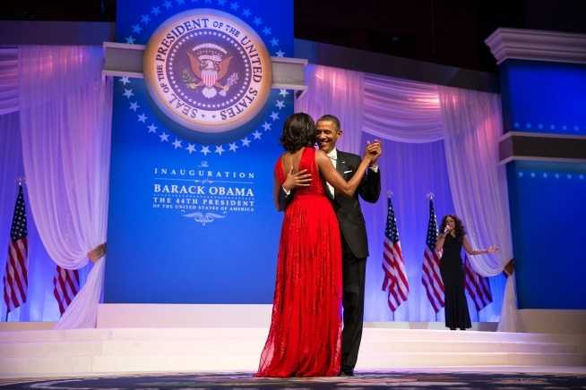 President Barack Obama and First Lady Michelle Obama dance together at the Commander in Chief Ball at the Walter E. Washington Convention Center in Washington, D.C., Jan. 21, 2013.