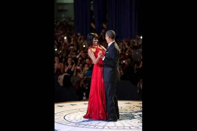 President Barack Obama and First Lady Michelle Obama dance together during the Inaugural Ball at the Walter E. Washington Convention Center in Washington, D.C., Jan. 21, 2013.