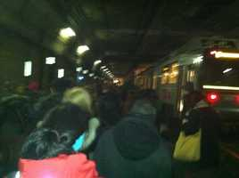 A look at passengers evacuating the Green Line Wednesday morning.