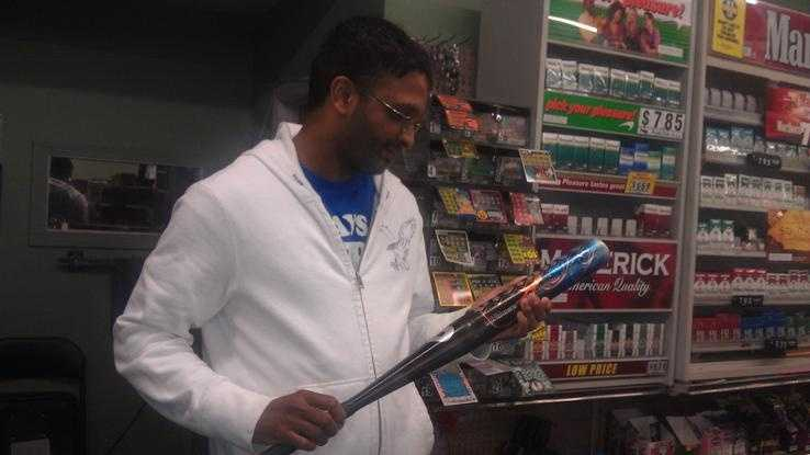 Riverside Farms employee Dharmesh Patel chased an attempted robbery suspect from his store with a baseball bat Wednesday.