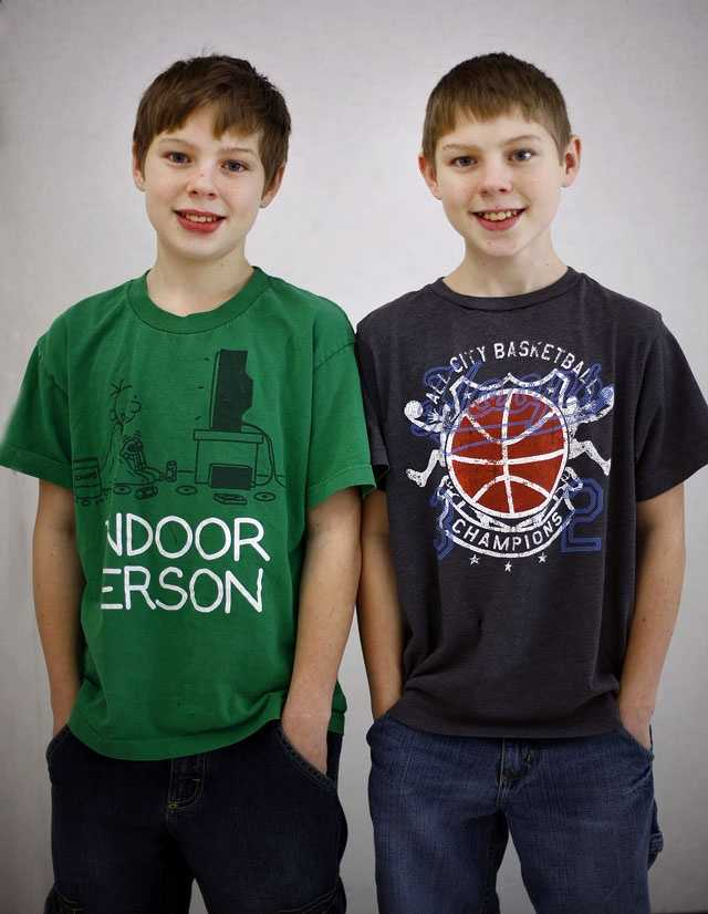 Nick and Brandon Kelsey are one of 16 sets of twin siblings in Pembroke Community Middle School's 7th grade class.