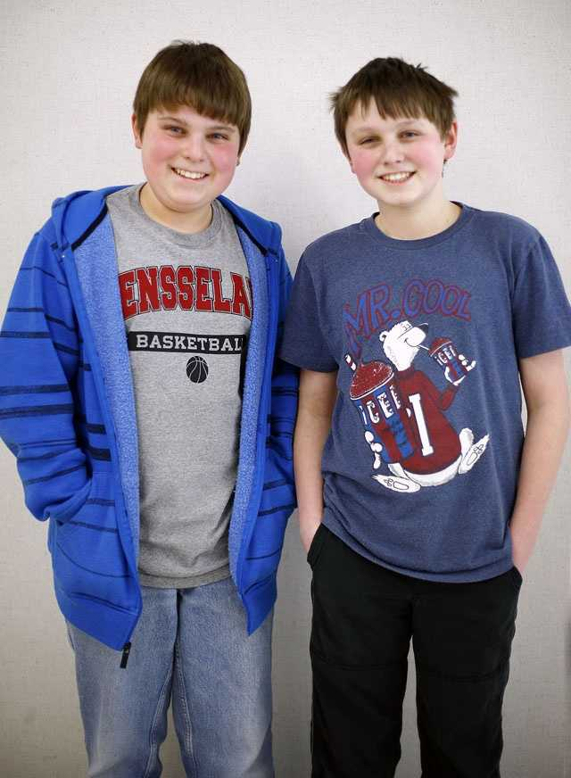 Eric and Greg Kaplowitz are one of 16 sets of twin siblings in Pembroke Community Middle School's 7th grade class.
