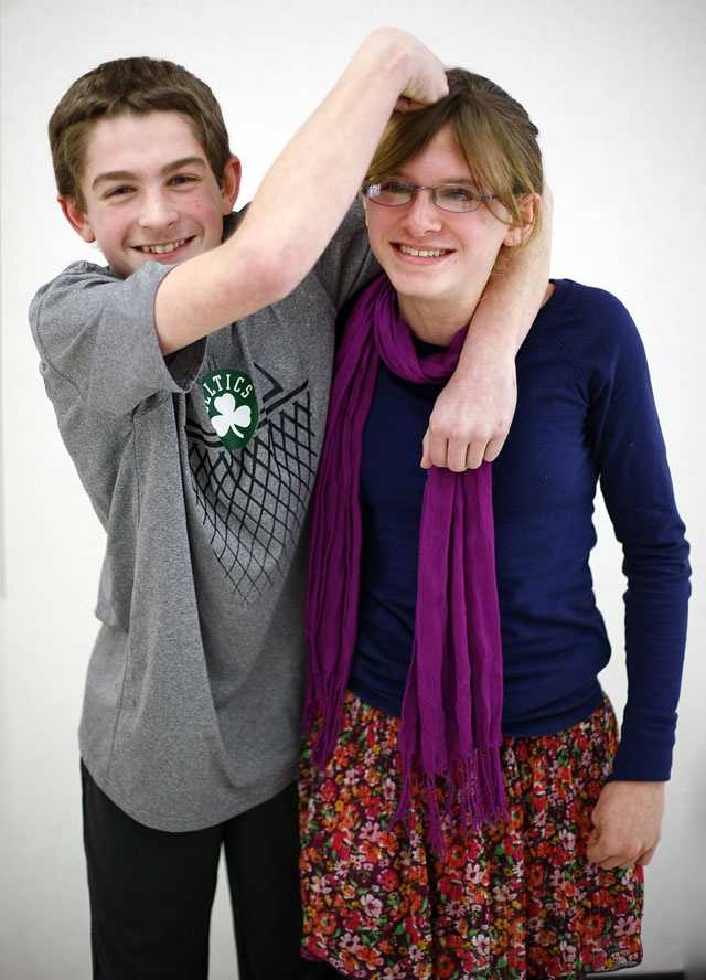 Vinny and Aly Coyle are one of 16 sets of twin siblings in Pembroke Community Middle School's 7th grade class.