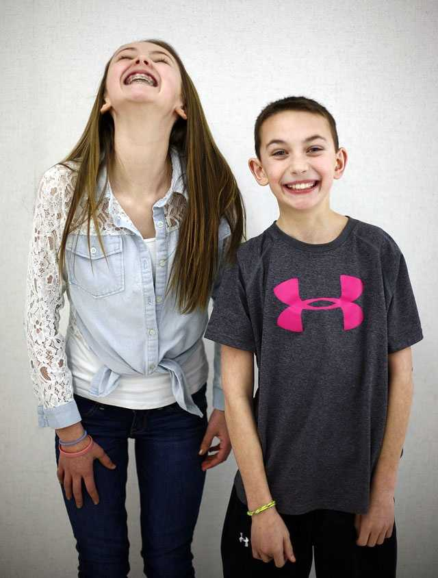 Kelly and Paul Cunningham are one of 16 sets of twin siblings in Pembroke Community Middle School's 7th grade class.