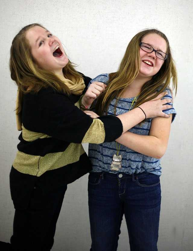 Olivia and Tess Chilcott are one of 16 sets of twin siblings in Pembroke Community Middle School's 7th grade class.