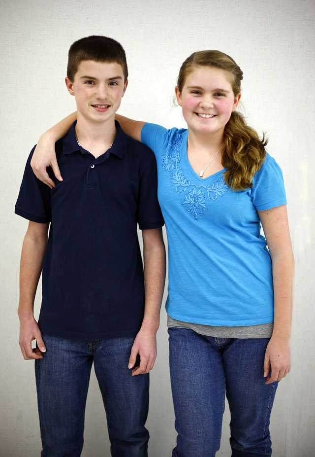 Liam and Colleen Spence are one of 16 sets of twin siblings in Pembroke Community Middle School's 7th grade class.