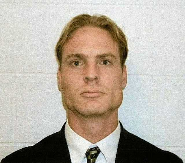 Great White tour manager Daniel Biechele is shown in this Dec. 9, 2003,photo in a West Warwick, R.I. booking mug. Biechele pleaded guilty to 100 counts of involuntary manslaughter in the deaths of those who lost their lives in the fire at The Station nightclub Feb. 20, 2003.