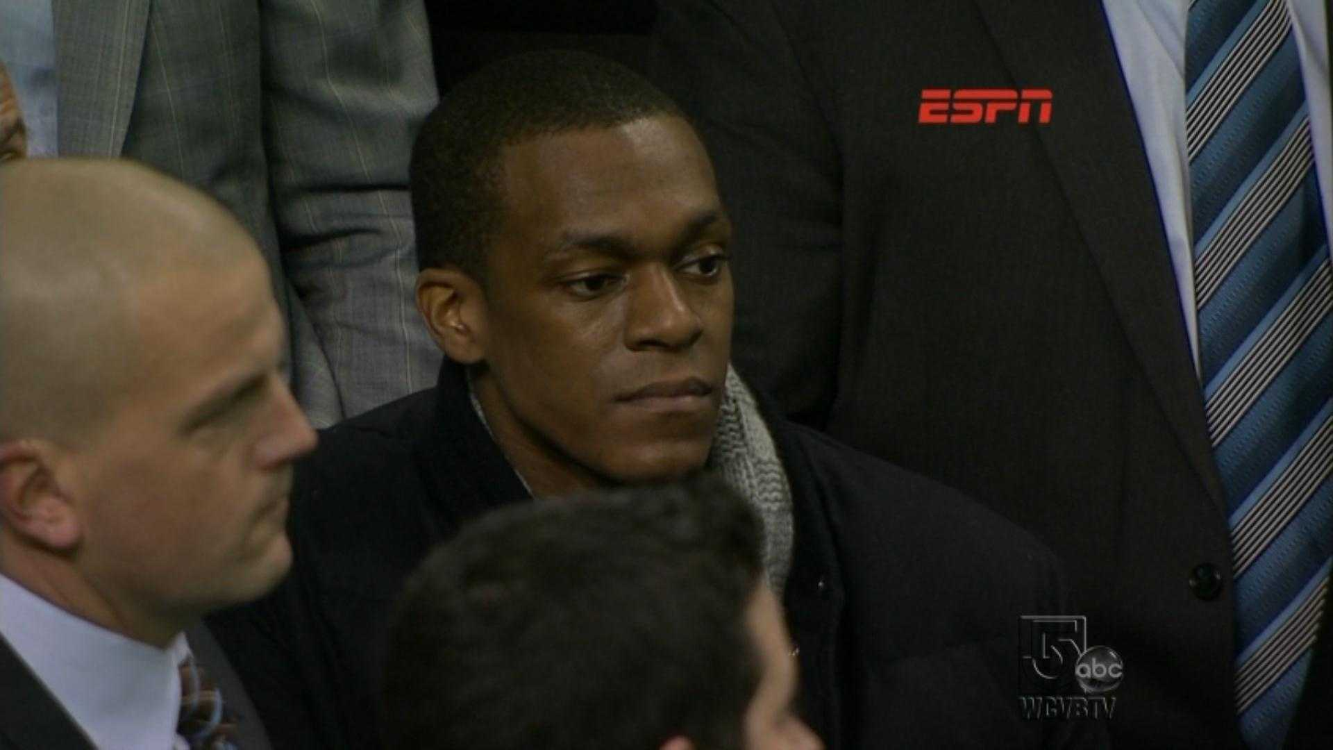 Rajon Rondo appears in the crowd of TD Garden after learning he tore his ACL before the Heat/Celtics game Sunday, January 27, 2013.