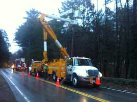 Crews work to repair downed lines in Wellesley.