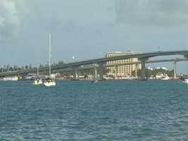 Paradise Island is connected to Nassau by two bridges that span the harbor.