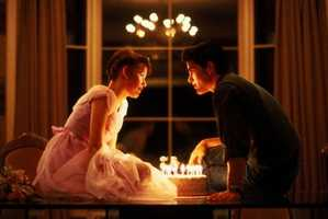 "Molly Ringwald's scene in ""16 Candles"" when ""Jake"" surprises her with a cake and a kiss!"