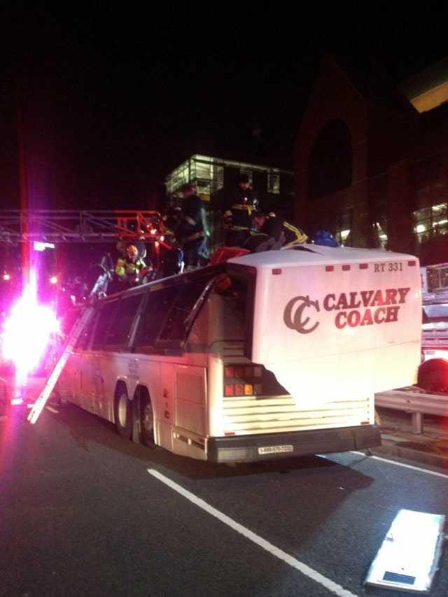 A charter bus full of passengers hit a bridge on Soldier's Field Road Saturday night, Boston Fire officials said.