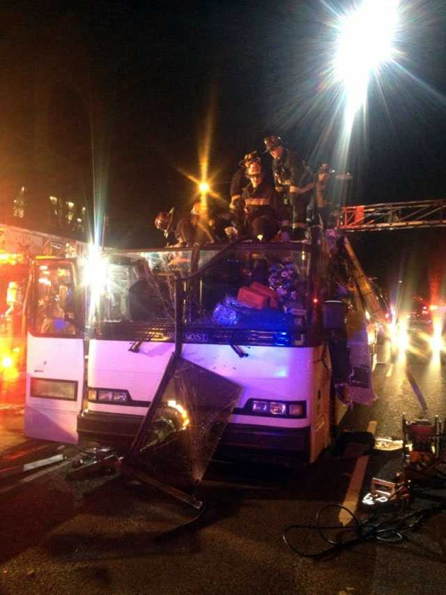 The Calvary Coach bus, which was headed eastbound, struck the Western Avenue bridge just after 7:30 p.m.