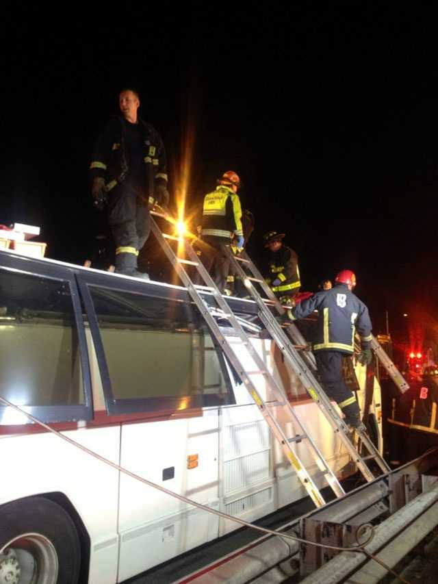 Boston EMS says over 30 people suffered injuries. Several were trapped on the bus for over an hour.
