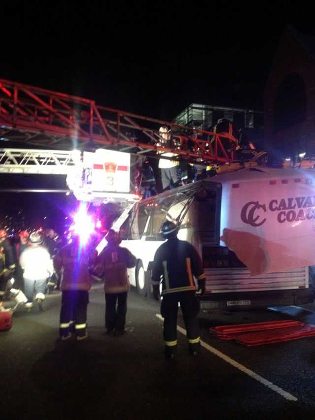 Massachusetts State Police said the bus was carrying passengers from Pennsylvania and was too high for the roadway.