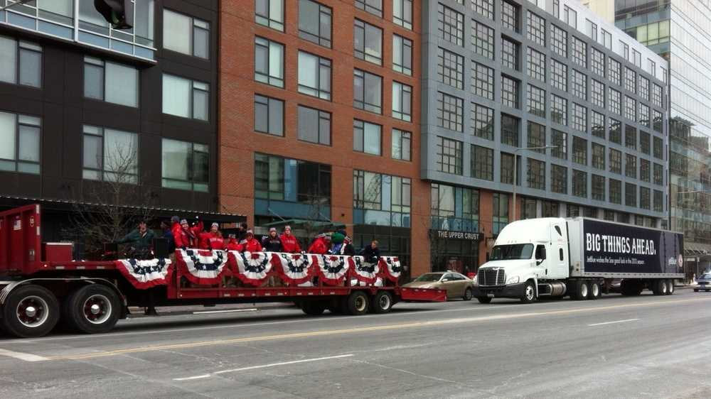The Red Sox caravan heading down Boylston Street.