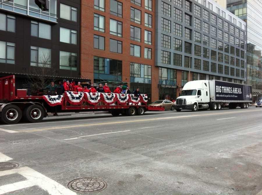 The Red Sox caravan heading down Boylston Street.