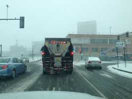 In Worcester, plows were out sanding, salting and pre-treating roads.