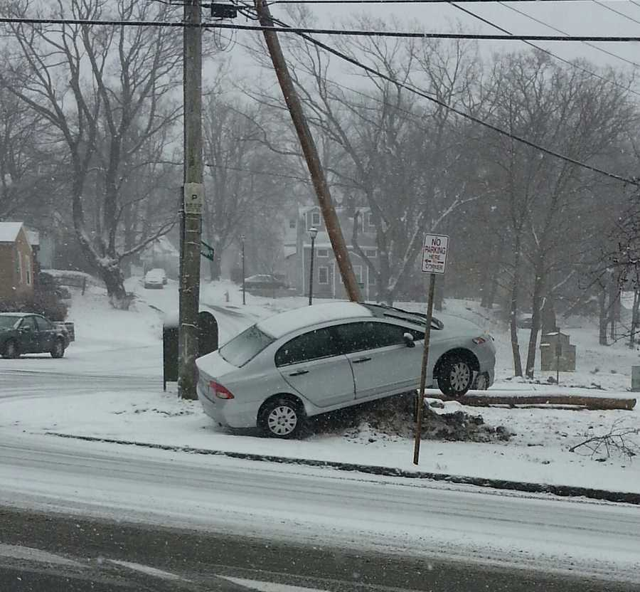 A car off the road in Worcester.