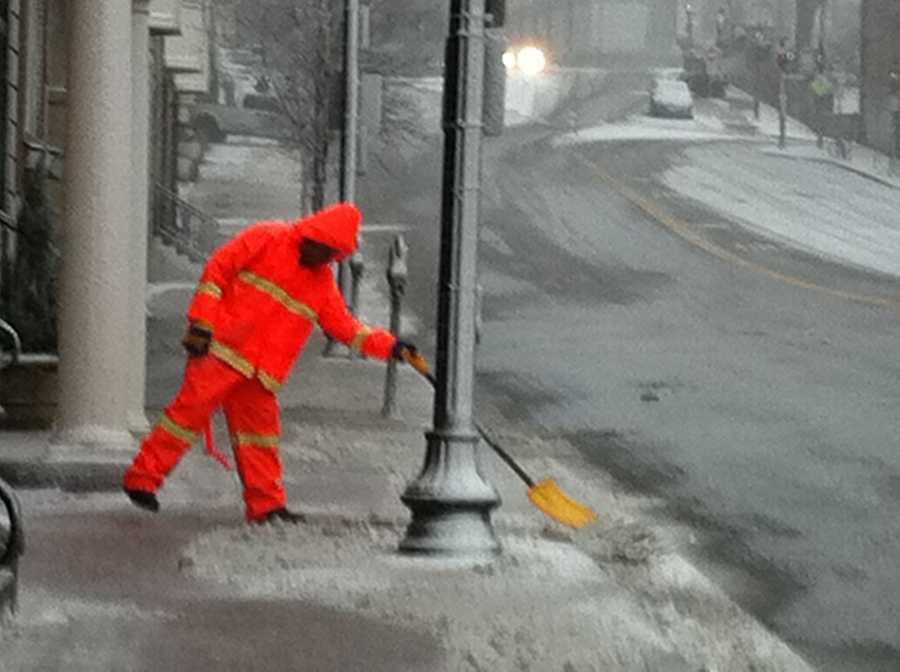 Shoveling begins in Boston.