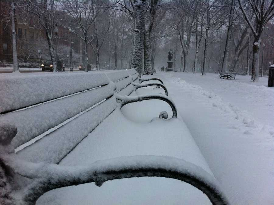 Snow beginning to pile up in Boston.