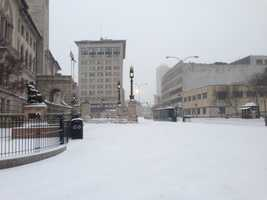 Main Street in downtown Worcester seems like a ghost town.