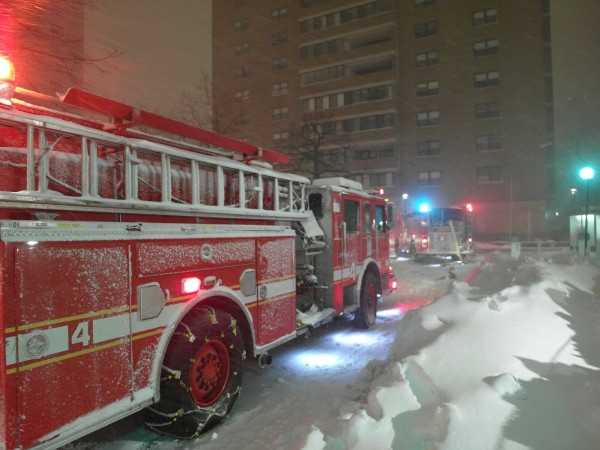 There was an electrical fire in the basement of one of the buildings.