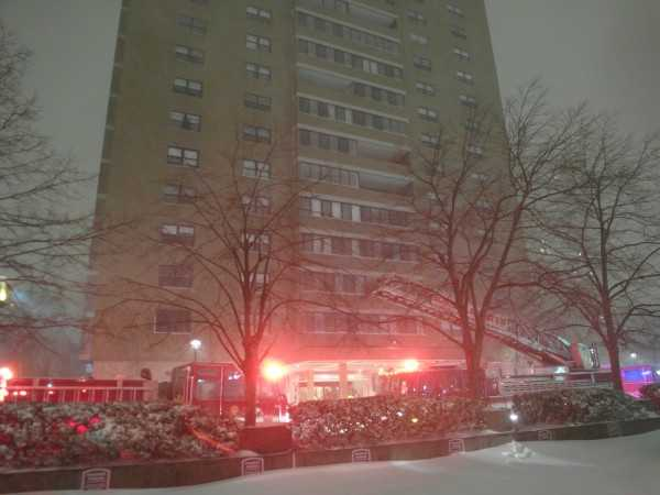The fire happened at the height of the blizzard.