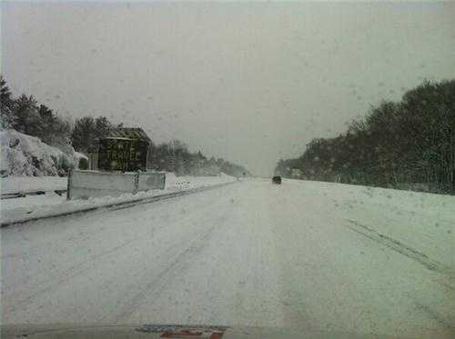 Route 3 in Weymouth during the Saturday travel ban.
