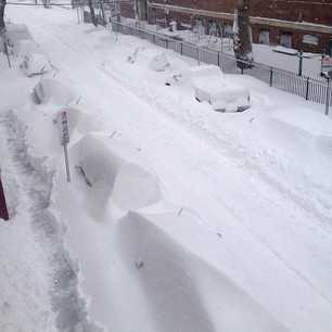 Cars buried in Cambridge.